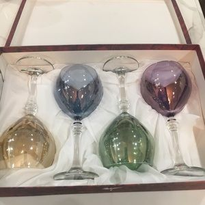 Wine Goblets. NIB. Multi Colors. Made in Italy